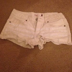 Tan shorts with lace