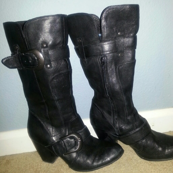 66 born shoes leather black boots by born from