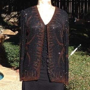 Black silk jacket with black and brown beading.