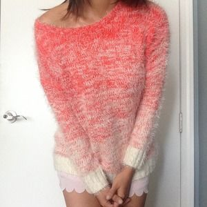 NWT Neon Coral Ombre Sweater