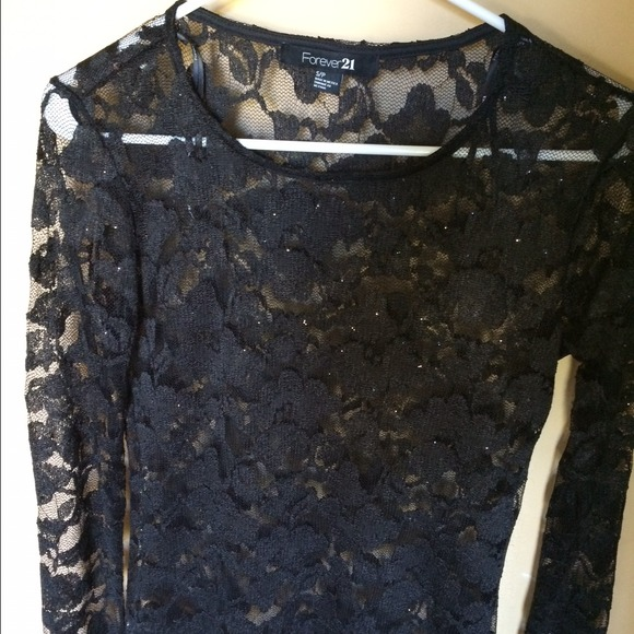 Forever 21 Tops Black Lace Top With Long Sleeves Small Poshmark
