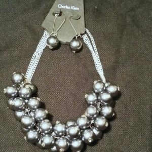 charles klein pewter high necklace and earring set from