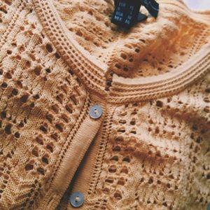 MANGO mustard yellow cardigan sweater