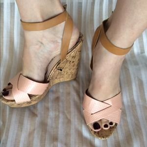 Peach and tan ankle strap cork wedges