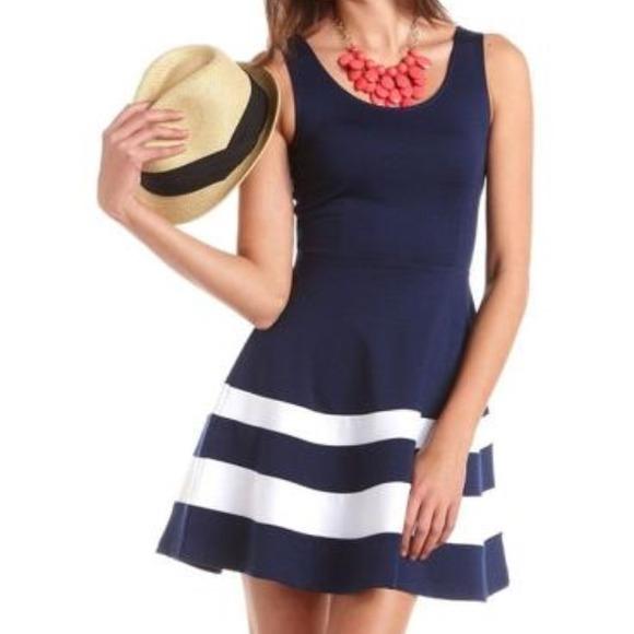 820fd7d7d586 Charlotte Russe Dresses   Skirts - Blue and white skater dress