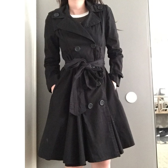50% off Outerwear - 🎉HP Black flared trench coat dress//skirt ...