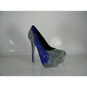 0eec91346928 ALBA Shoes - Blue   White Rhinestone Pumps