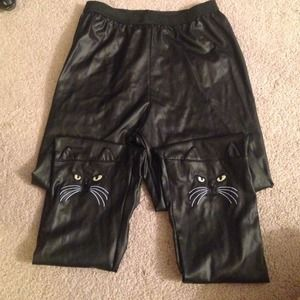 Pants - High waisted leather lame cat face leggings pants
