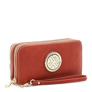 Double Zipper Leather Wallet - Color Options