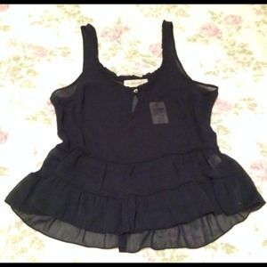 NWT Abercrombie & Fitch navy tunic top Sz S