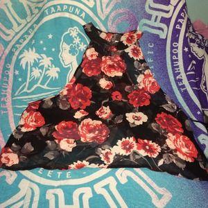 Ali & Kris Tops - Black & red flower sheer halter top