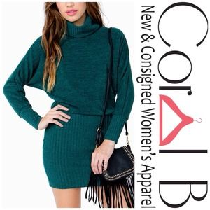 Dresses & Skirts - Green Cowl Neck Sweater Dress