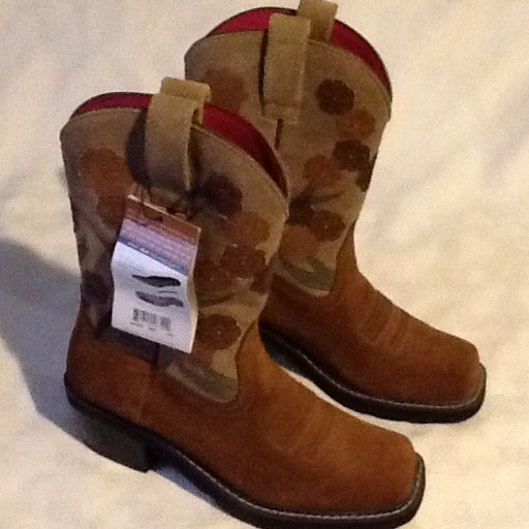 Ariat - New Ariat Sz 8.5 Brown Suede Leather Floral Boots from ...