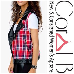 Jackets & Blazers - Red Plaid Vegan Leather Vest