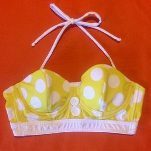 Retro vintage yellow polka dot bikini top unique