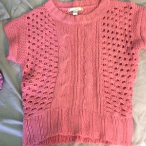 Pink cable knit sweater short sleeve