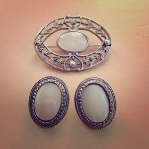 Vintage Earrings and Pin Set