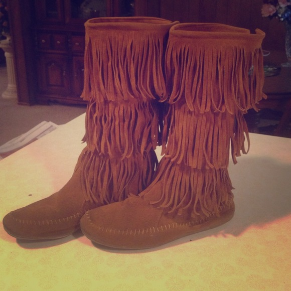 63% off Boots - SOLD Tan fringe boots💝💝 from Dakota's closet on ...