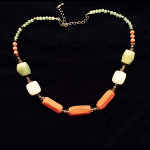 Green and orange stone necklace