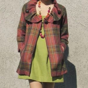 Pink Plaid Jacket w/ Peter Pan Collar + Pockets