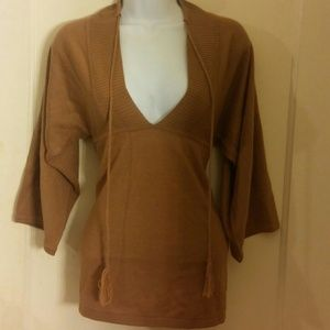 Tops - V-Neck Sweater Top Blouse Carmel Khaki Biege