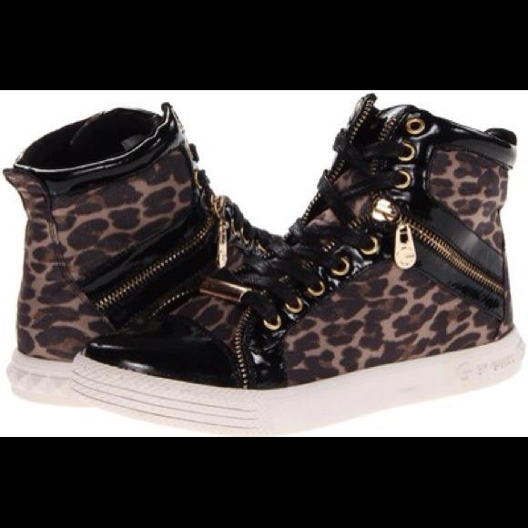 Guess Leopard Hi Top Sneakers   Poshmark