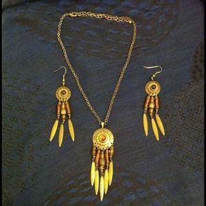 Vintage amber stone necklace/earring set