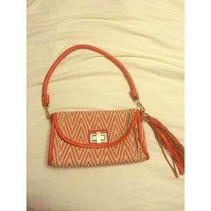 Woven Chevron Coral Red Purse