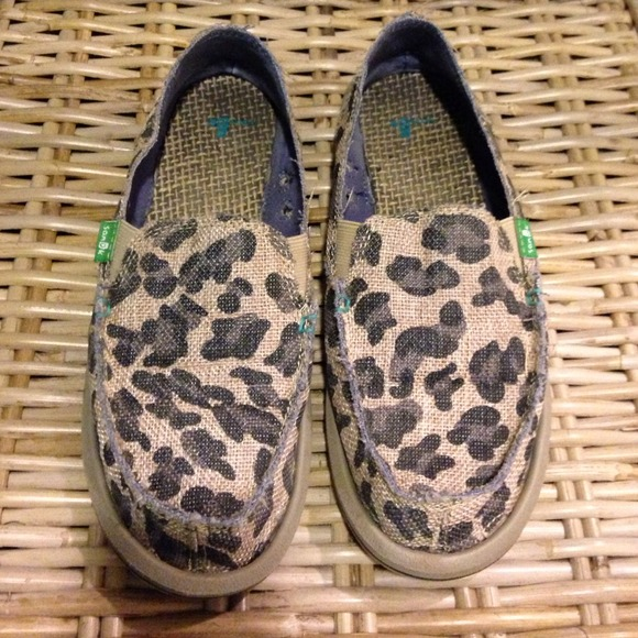 Leopard Print Burlap Sanuk Slip Ons