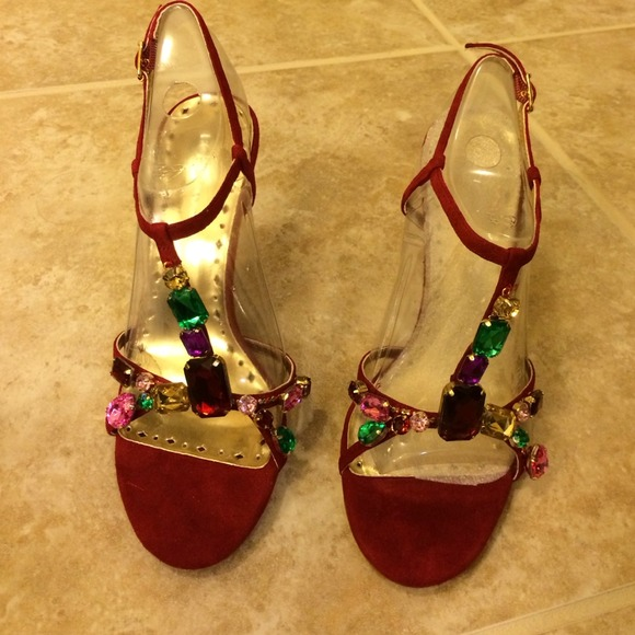 c39d9daa9784f8 BCBG Shoes - Red suede T strap jeweled heels