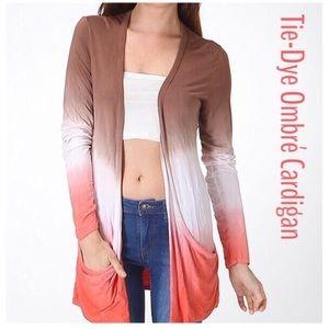 Sweaters - Ombré Tie-Dye Open Cardigan