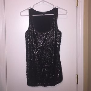 Small black sequin tank top by Express