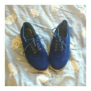 F21 Cobalt Suede Oxfords