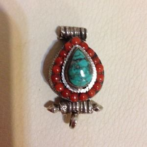 Sterling silver turquoise & coral Pendant vintage?