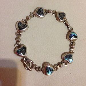 Sterling silver toggle clasp heart bracelet