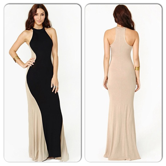 Beige and black maxi dress