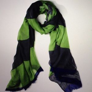 Yigal Azrouel Concrete Scarf Green Blue NWT