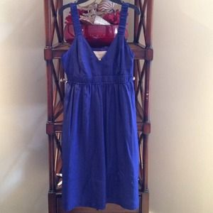 Burberry London Sapphire Blue Silk Sundress 4 NWT