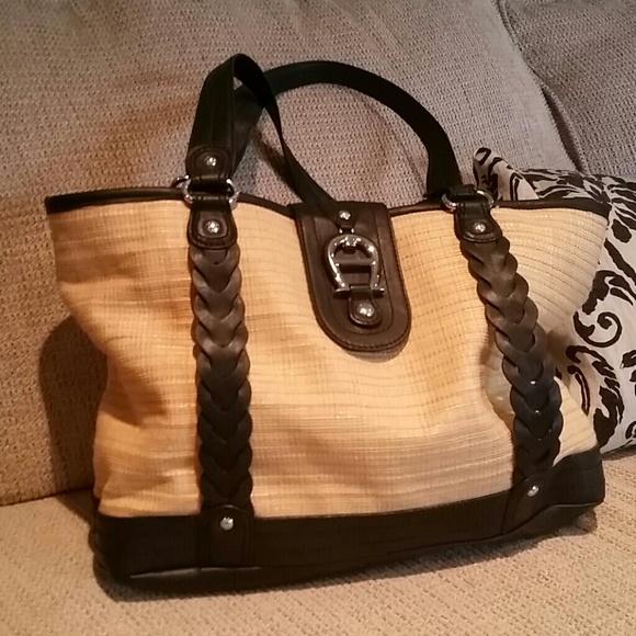 Etienne Aigner Bags   Woven And Black Leather Handbag   Poshmark 836ada4332