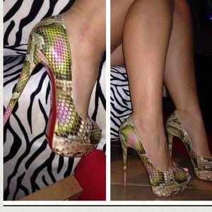 christian louboutin lady peep python pumps