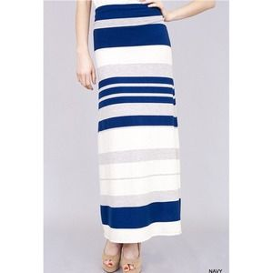 """Out At Sea"" Navy Striped Maxi Skirt"