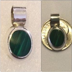 Vintage Malachite .925 Silver Oval Pendant