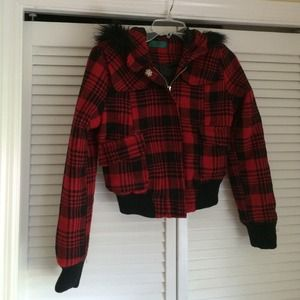 Red & Black plaid fur accented jacket