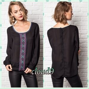 Cloud 9 Tops - Aztec Chic ~ Black Embroidered Button Back Blouse