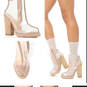 Clear boots Jeffrey Campbell size6 TREAD WELCOME