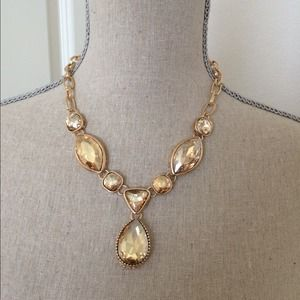 Yellow Beautiful Glam statement necklace set.
