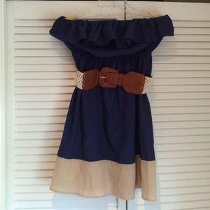 NWOT Sequin Hearts strapless blue & cream dress