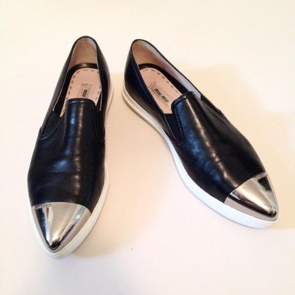 131b7349ba30 Miu Miu Metal Cap Toe Sneakers. M 544826a1a632b65d000b6ee1