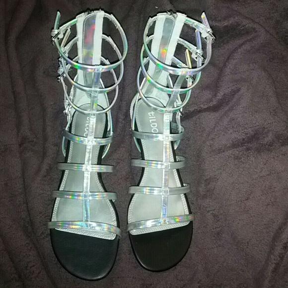 4dc0ed72de3 Hologram gladiator sandals