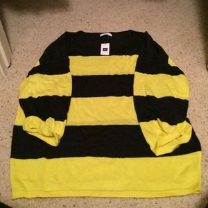 NWT. Gap Yellow and Gray Striped Sweater
